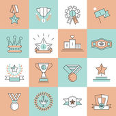 Award icons set flat line — Stock Vector