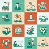 Meeting icons set flat — Stock Vector
