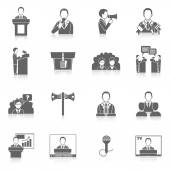 Public Speaking Icons — Stock Vector