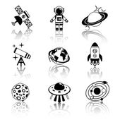 Space icons black and white set — Stock Vector
