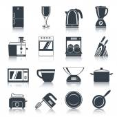 Kitchen Appliances Icons Black — Stock Vector