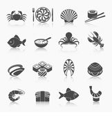 Seafood icons set black — Stock Vector