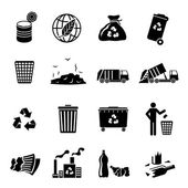 Garbage Icons Black — Stock Vector
