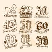 Anniversary signs set — Stockvektor