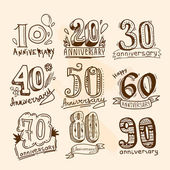 Anniversary signs set — Stock Vector