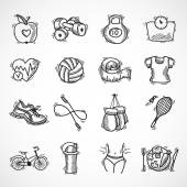 Fitness sketch icons set — Stock Vector