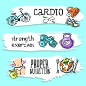 Fitness sketch banner set — Stock Vector