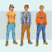 Hipster boy character set — Stock Vector