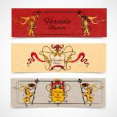Heraldic banners set — Stock Vector