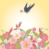 Vintage flowers background with bird — Stock Vector