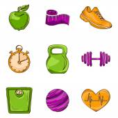 Fitness sketch line icons — Stock Vector