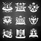 Heraldic chalkboard emblems — Stock Vector