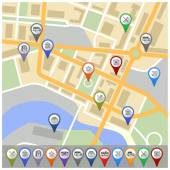 Map with gps icons — Vector de stock