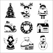 Christmas icons black and white — Stock Vector #56164897