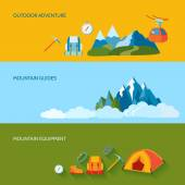 Camping banner set — Stock Vector
