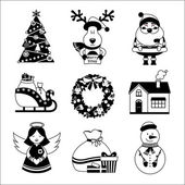Christmas icons black and white — Stock Vector