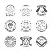 Baseball labels icons set — Stock Vector