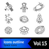 Space Icons Outline Set — Stock Vector