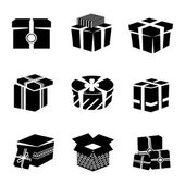 Gift box black and white icons set — Stock Vector