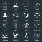 Science areas icons white — Stock Vector