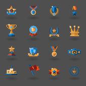 Award flat icons set — Stock Vector