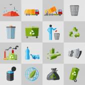 Garbage icons flat — Stock Vector