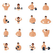 Bodybuilding fitness gym icons flat — Stock Vector