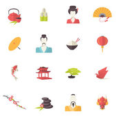 Japan icons flat — Stock Vector
