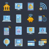 Mobile banking icons — Stock Vector
