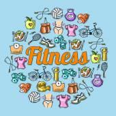 Fitness sketch illustration — Stock Vector