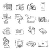 Photo video doodle icons — Stock Vector