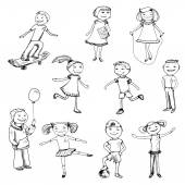 Children characters sketch — Wektor stockowy