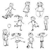 Children characters sketch — Cтоковый вектор