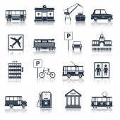 City infrastructure icons black — Stock Vector