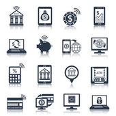 Mobile banking icons black — Stock Vector