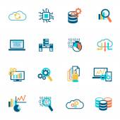 Database analytics icons flat — Stock Vector