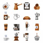Coffee icons flat set — Stock Vector