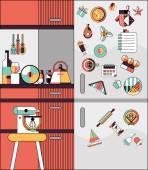 Kitchen interior flat line — Stock Vector