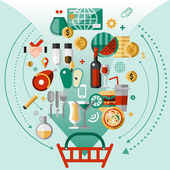 Food icons basket — Stock Vector