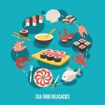 Sea food delicacies — Stock Vector #56633703
