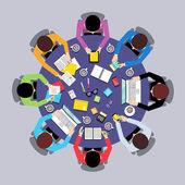 Teamwork people top view — Stock Vector