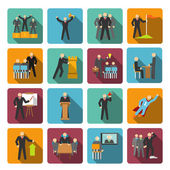 Leadership icons flat — Stock Vector