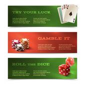 Casino horizontal banners — Stok Vektör