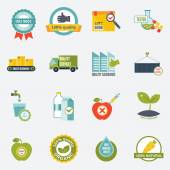 Quality control icons flat — Stock Vector