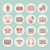 Retro media icons — Stock Vector