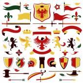 Heraldic set colored — Stock Vector