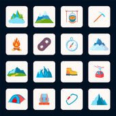 Mountain icons flat — Stockvector