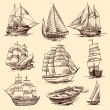 Постер, плакат: Ships and boats sketch set