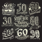 Anniversary signs chalkboard set — Vector de stock
