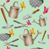 Garden tools seamless pattern — Stock Vector